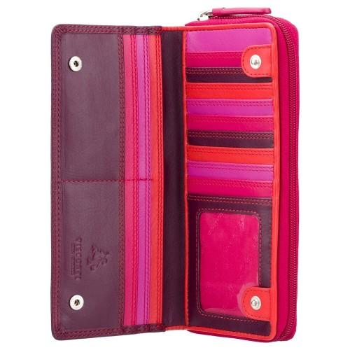 Visconti veľká slivková kožená peňaženka s RFID