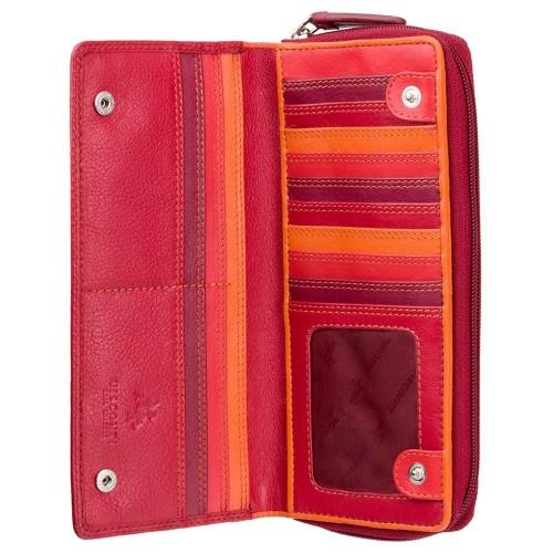 Visconti veľká červená kožená peňaženka s RFID