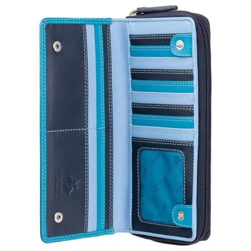 Visconti veľká modrá kožená peňaženka s RFID
