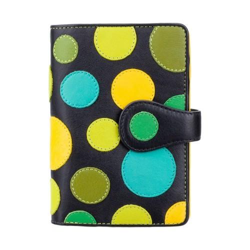 Visconti dámska kožená peňaženka s RFID žltozelené bodky