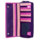 Visconti veľká ružová kožená peňaženka s ochranou kariet
