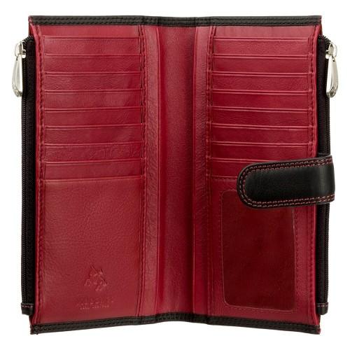 Visconti dámska kožená peňaženka čierna červená / tyrkysová