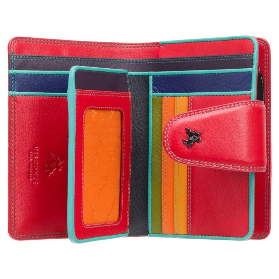 Visconti červená peněženka s barevným vnitřkem