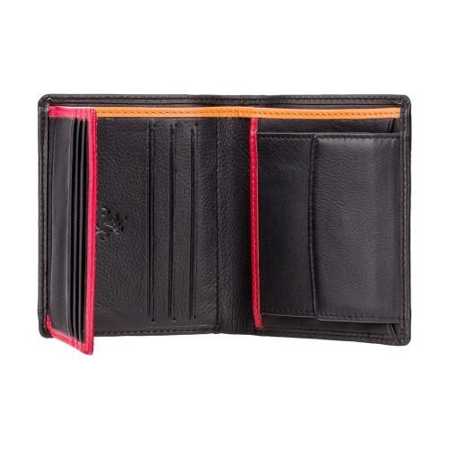 Visconti čierna plochá kožená peňaženka RFID