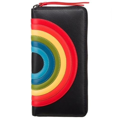 Visconti kožená peněženka černá a duha