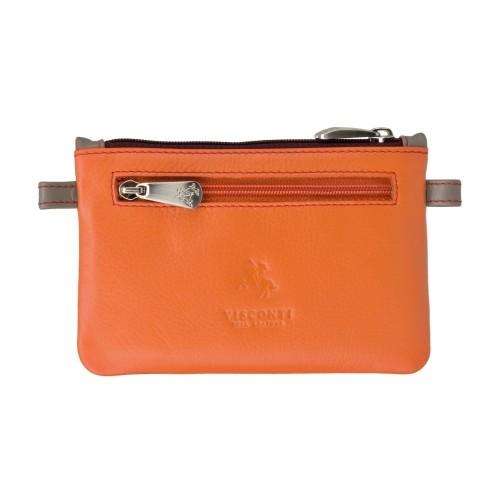 Visconti oranžová kožená klíčenka