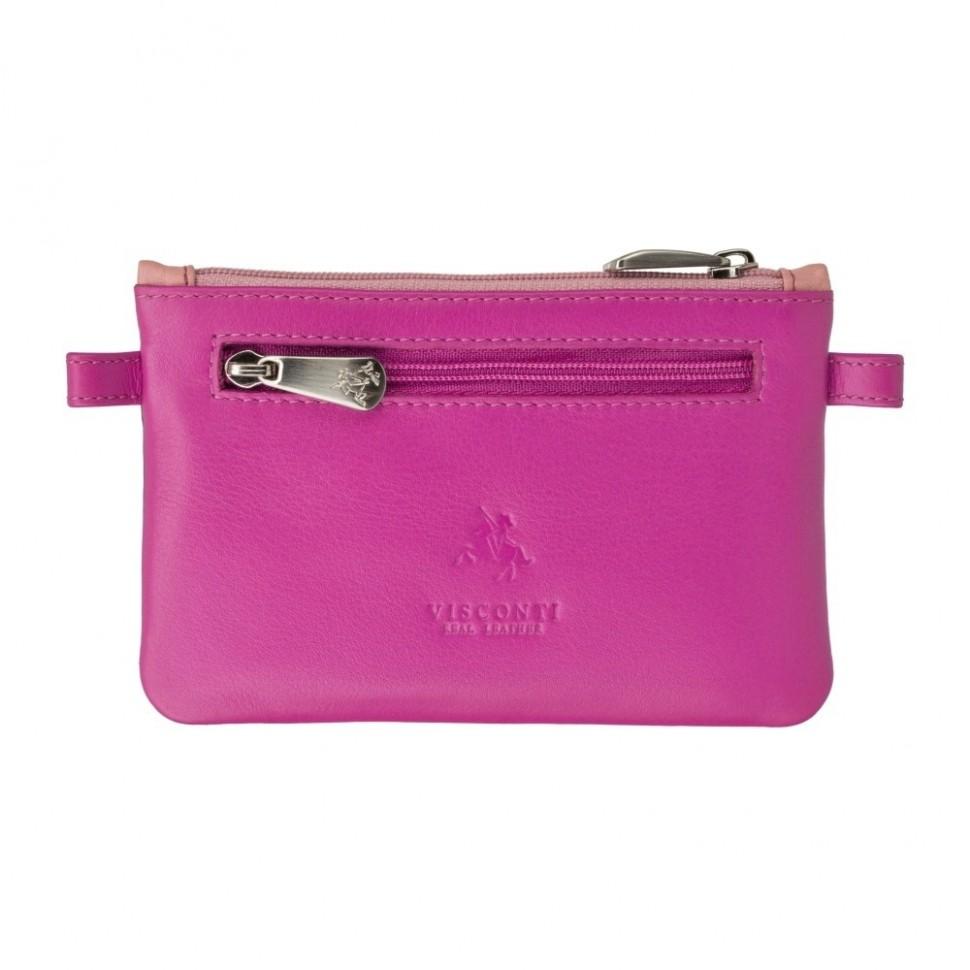 Visconti růžová kožená klíčenka