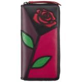Visconti velká kožená peněženka na zip s růží