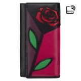 Visconti veľká kožená peňaženka na patent zips s ružou