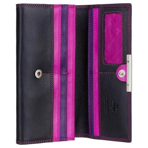 Visconti dámska kožená peňaženka čierna a ružová s RFID